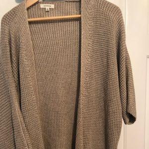 Taupe open drape sweater